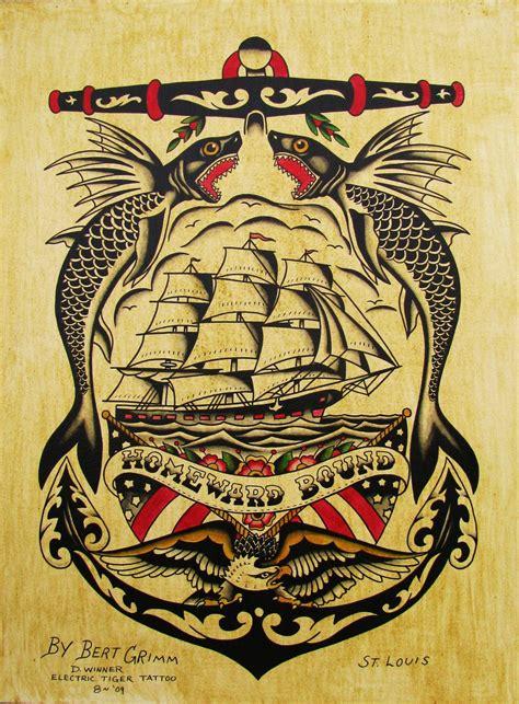 tattoo posters painted original flash vintage bert grimm