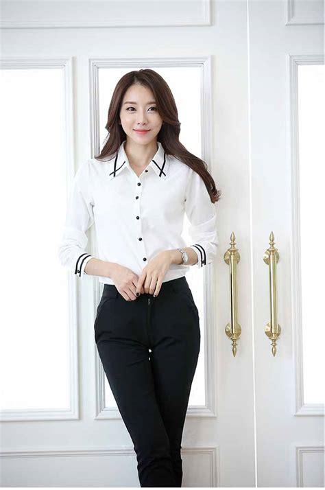 Mini Dress Kemeja Kerja Garis Lengan Panjang Baju Wanita Korea Import kemeja putih lengan panjang big size myrosefashion