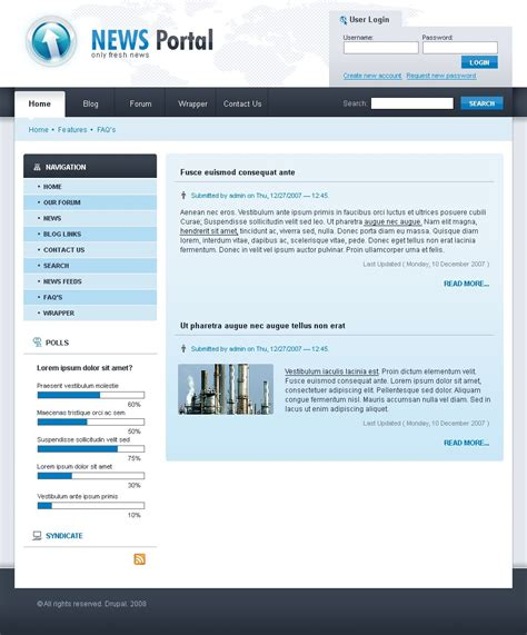 drupal themes zip news portal drupal template 20890