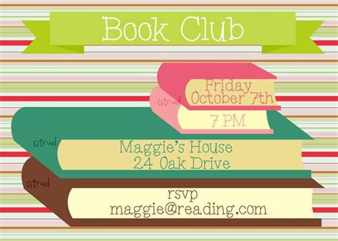 book club meeting invitation for printing or e mailing