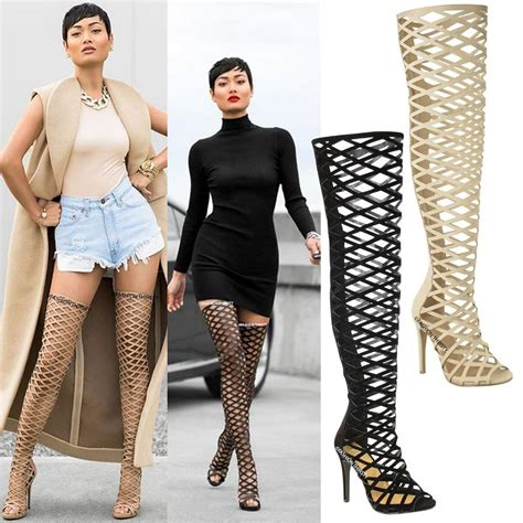 thigh high sandal boots womens cut out the knee thigh high stiletto