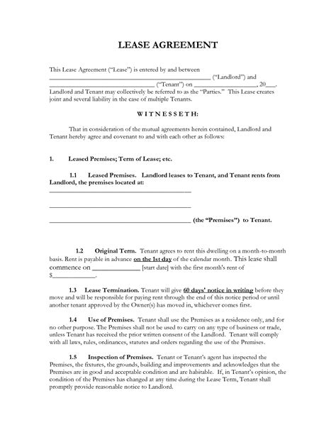12 month lease agreement template 12 best images of monthly lease agreement rental