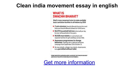 Clean India Essay For by Clean India Movement Essay In Docs