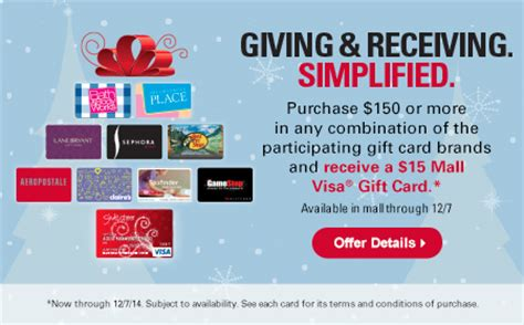 Visa Mall Gift Card - wilton mall spend 150 on select store gift cards get a 15 mall visa card