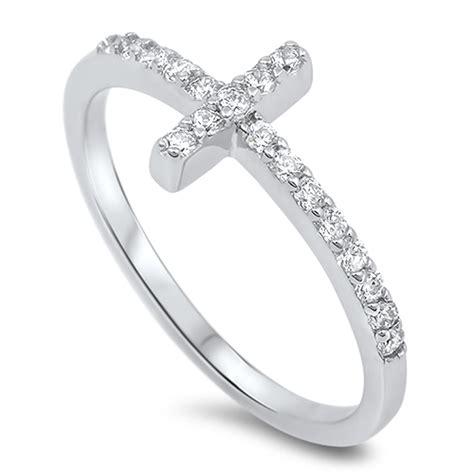 925 Silver Cross Ring sideways cross ring new 925 sterling silver christian