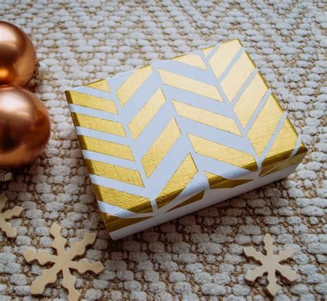 Wooden Gift Card Box - gold and white painted wooden card box diy merriment design