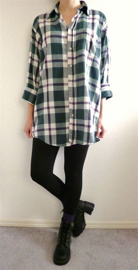 Oversized Flannel vtg 90s grunge green purple plaid flannel shirt seattle oversized boyfriend sz l comfy