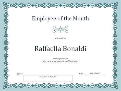 employee of month template employee of the month certificate template 187 template