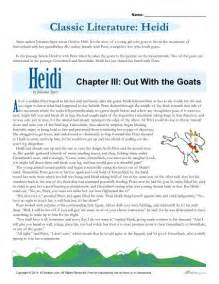 heidi printable literature comprehension set