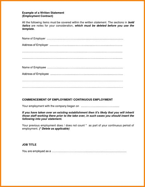 written statement template best template idea
