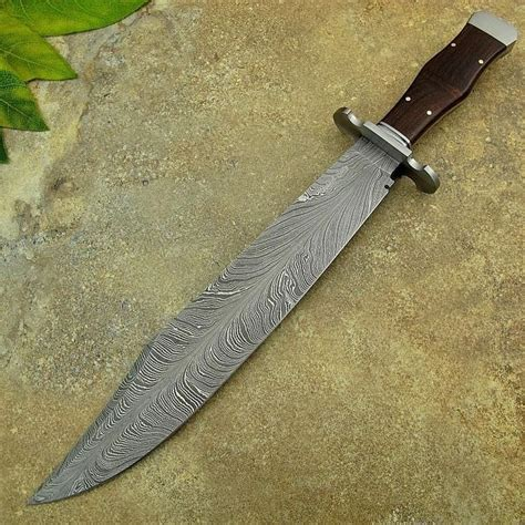 pattern for bowie knife michael cody s custom handmade feather pattern damascus