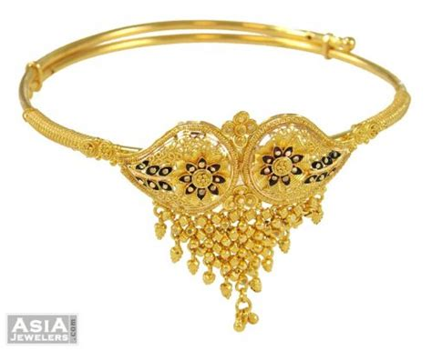 bajuband pattern indian gold armlet arm bangle ajbb53658 22k gold