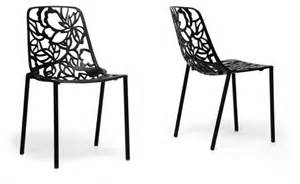 Black Metal Dining Chair Demeter Black Metal Modern Dining Chair Set Of 2 Contemporary Dining Chairs
