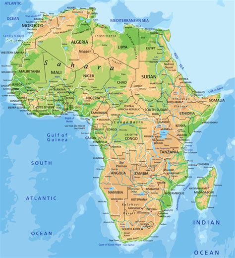 africa map detailed africa physical map vector graphics mapas y banderas