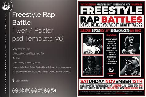 freestyle rap battle flyer template for photoshop