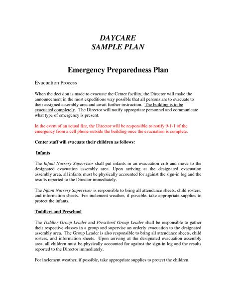 Home Daycare Evacuation Plan Sle House Design Plans Home Daycare Emergency Plan Template