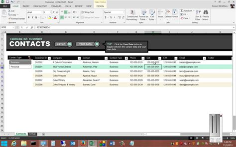 Review Of The Free Customer Contact Template In Microsoft Excel 2013 Youtube Contact Management Excel Template