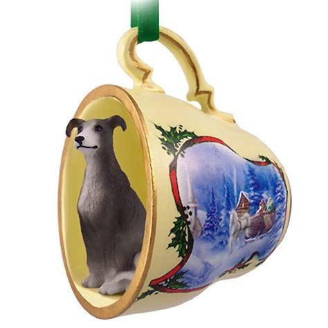 greyhound dog christmas holiday teacup ornament figurine
