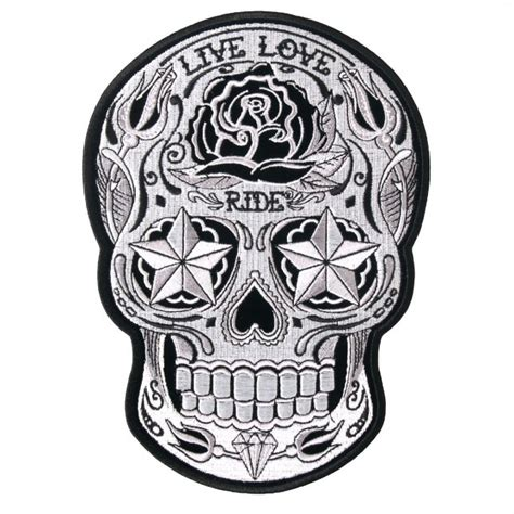 leathers sugar skull patch