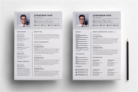 2 Page Resume Template by Professional Two Page Resume Set Resume Templates