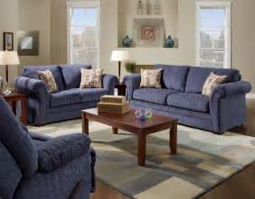 Blue Living Room Sets Plush Blue Fabric Casual Modern Living Room Sofa Loveseat Set