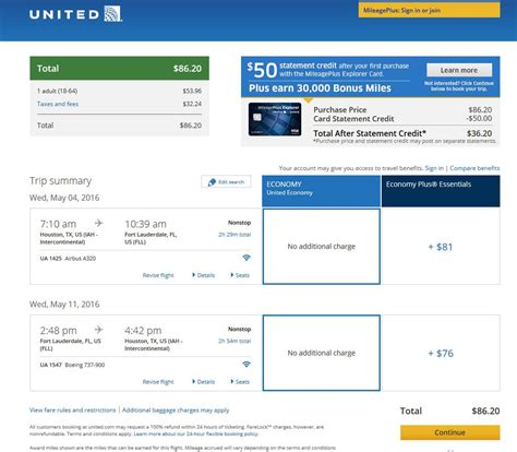 united airlines booking 87 houston to fort lauderdale nonstop r t fly com