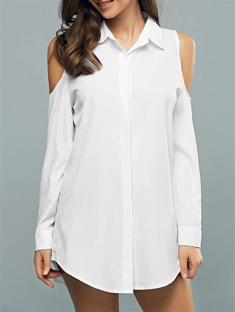 Hollow Shirt Dress sleeve hollow out shirt dress white xl in casual