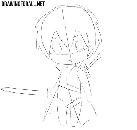 A Anime Drawing by How To Draw Chibi Kirito Drawingforall Net