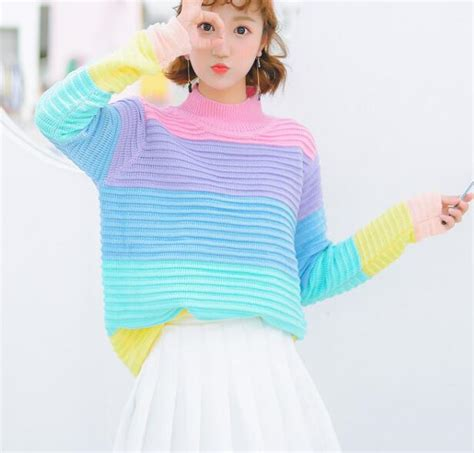 Rainbow Sweater pastel rainbow knitted sweater 183 kawaii harajuku