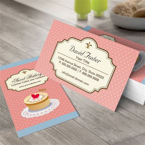 sweet bakery packaging design template white busines card papaer custom cakes and cookies dessert bakery shop business card