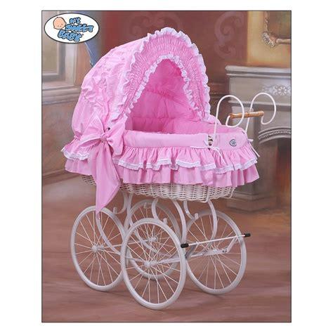 wicker crib moses basket vintage retro pink white wicker