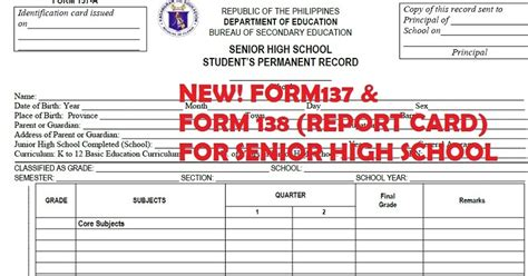 Deped School Report Card Template Excel by Form 137 And Form 138 Official Format For Elementary