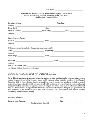 equine release form fillable studentorg umd related activity