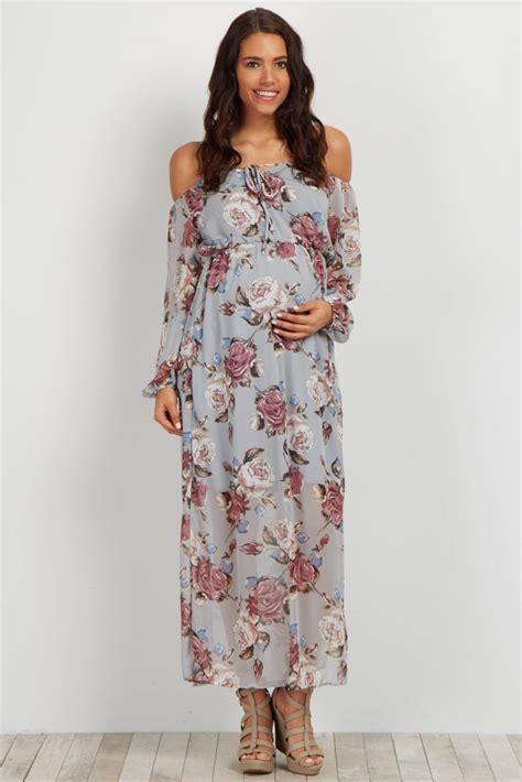 Grey Flower Cold Shoulder Dress Size S M L grey floral shoulder maternity maxi dress