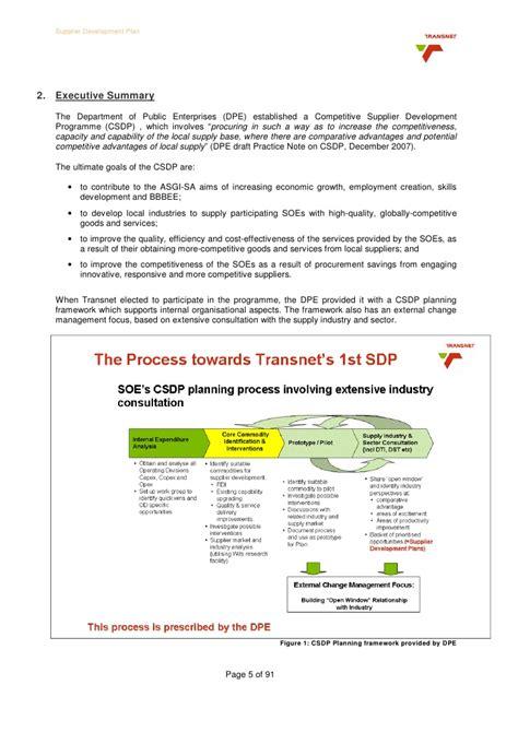 bbbee report template transnet supplier development plan