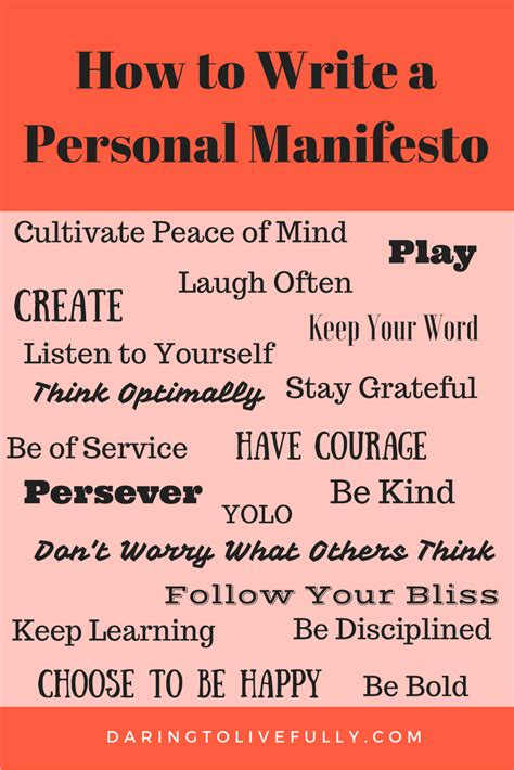 personal manifesto template how to write a personal manifesto daring to live fully