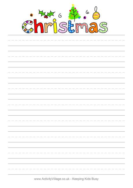 Lined writing paper with borders for christmas stonewall services