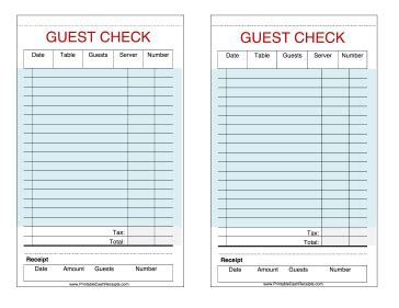 restaurant guest check template new printable receipts