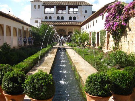 Granada, Spain, Alhambra interior garden at sunny day