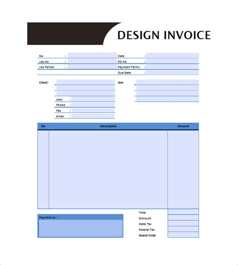 design invoice free designing invoice template 10 free word excel pdf
