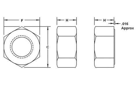H Drawing Size by Heavy Hex Nut Dimensions Diagram
