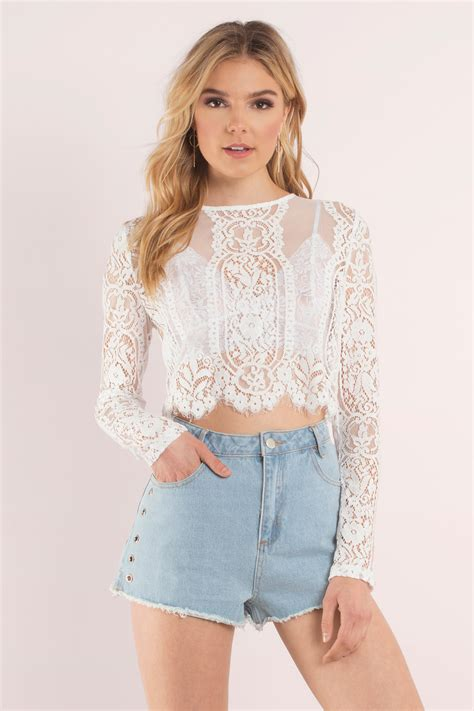 white top lace top lace top white crop top tobi