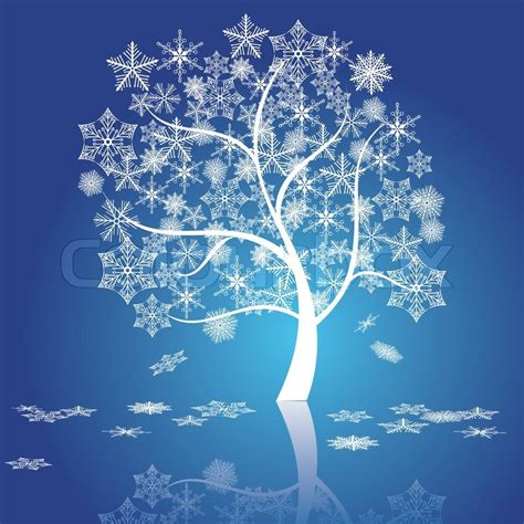 winter tree from snowflakes by the vector colourbox snow tree vector stock vector colourbox