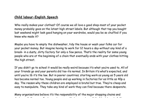 Child Labor Essay by Write A Essay On Child Labour Basic Guide To Essay Writing Kathy S Home Page