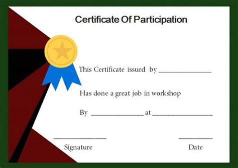 certificate of participation in workshop template certificate of participation in a workshop template