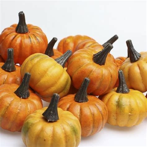realistic fall mini artificial pumpkins package of 16