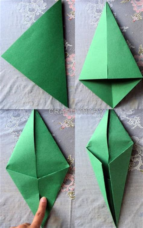 Origami Tulip Stem - paper crafts welcome summer with tulips crafts ideas