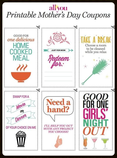 printable gift certificates for wife printable mother s day coupons cook meals coupons and