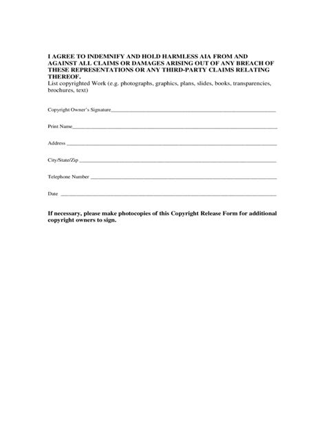 copyright release template simple copyright release form free