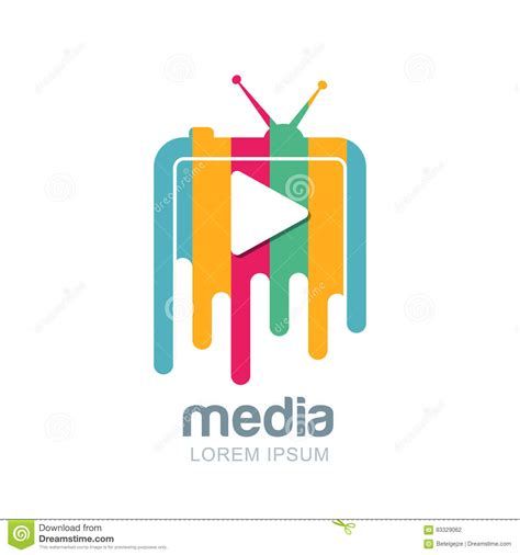 media and tv news logo design template vector